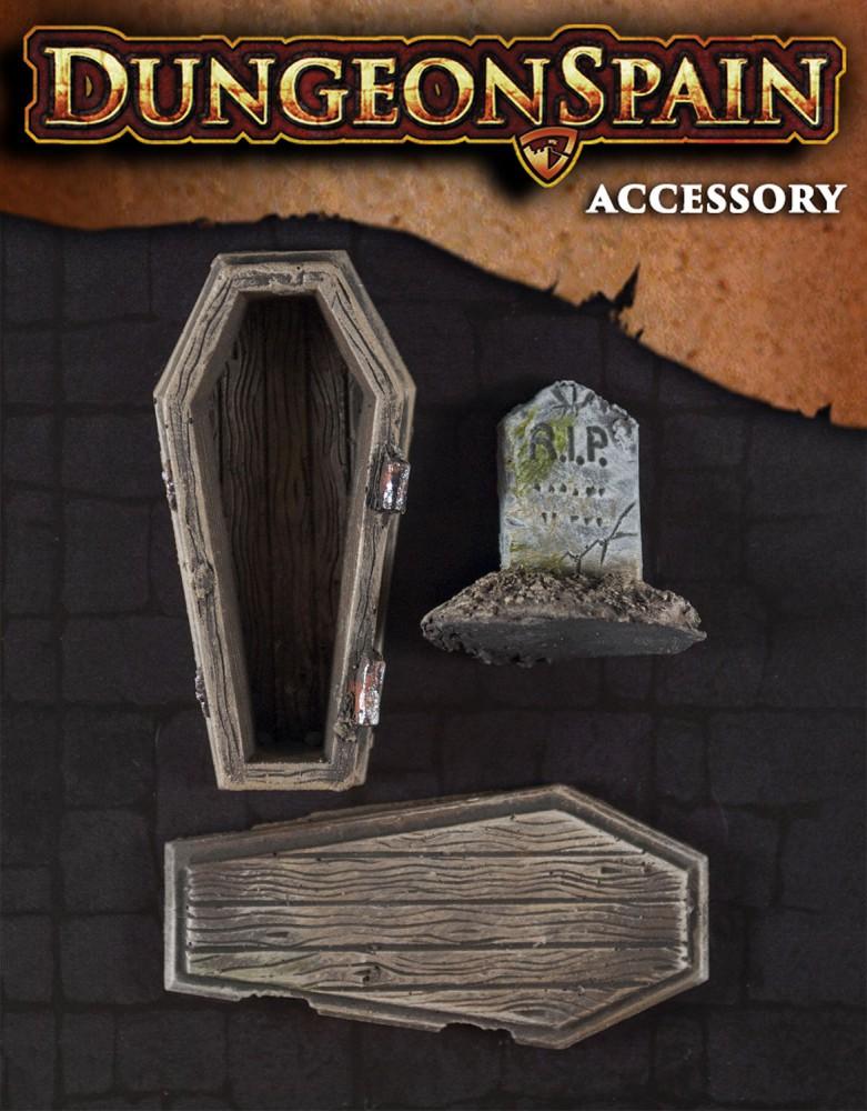 Pack accesorios 08: Ataúd y lápida