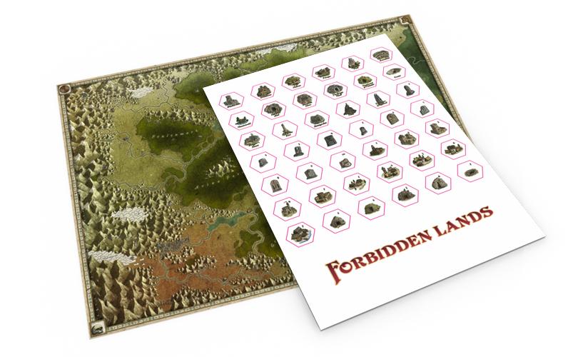 Kit adicional de mapa con pegatinas para Forbidden Lands